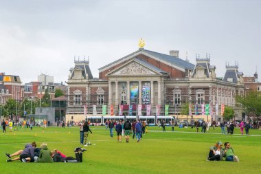 AMSTERDAM, NETHERLANDS - JUNE 25, 2017: View of the Royal concert hall Concertgebouw in Amsterdam. Because of its highly regarded acoustics is considered one of the finest concert halls in the world.