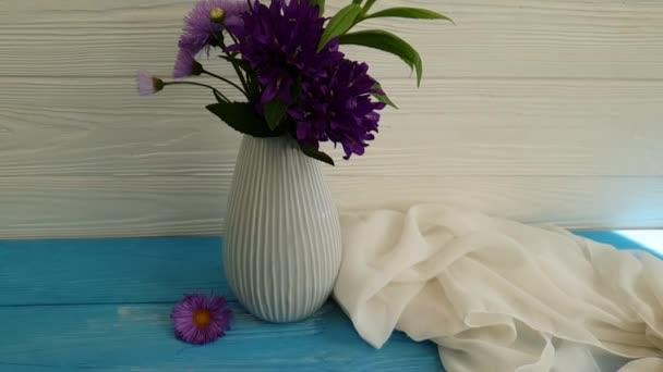 Bell Chrysanthemum Vase Wooden Background Stock Video Tanyalovus
