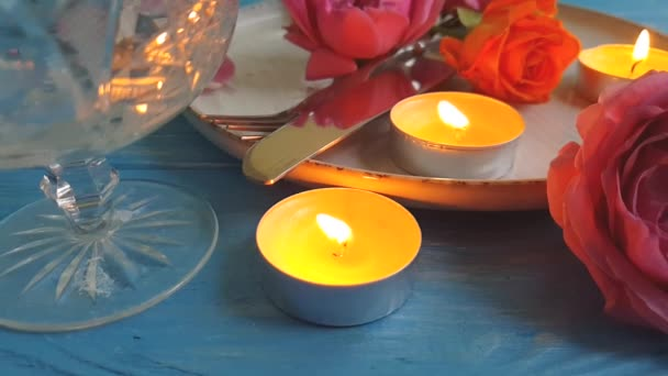 rose flower plate slow motion, candle fire