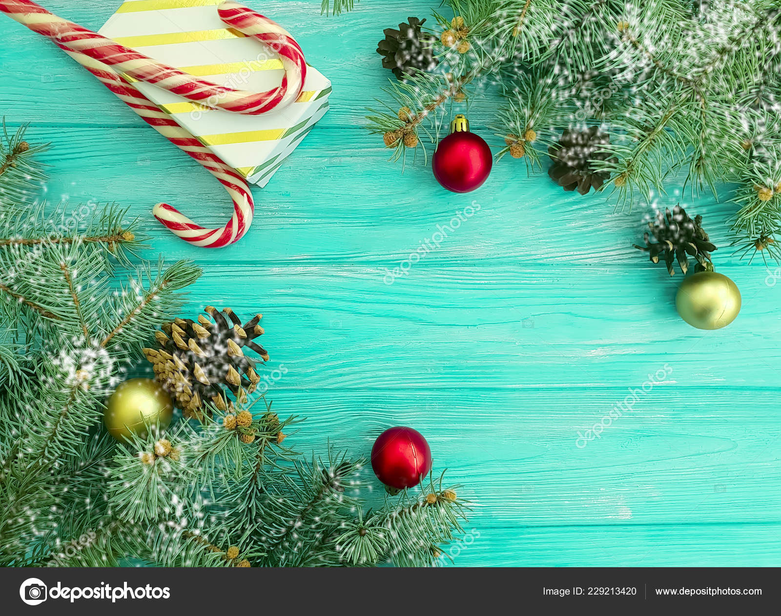Candy Christmas Tree Branches Gift Box Blue Wooden Background Stock Photo C Tanyalovus 229213420