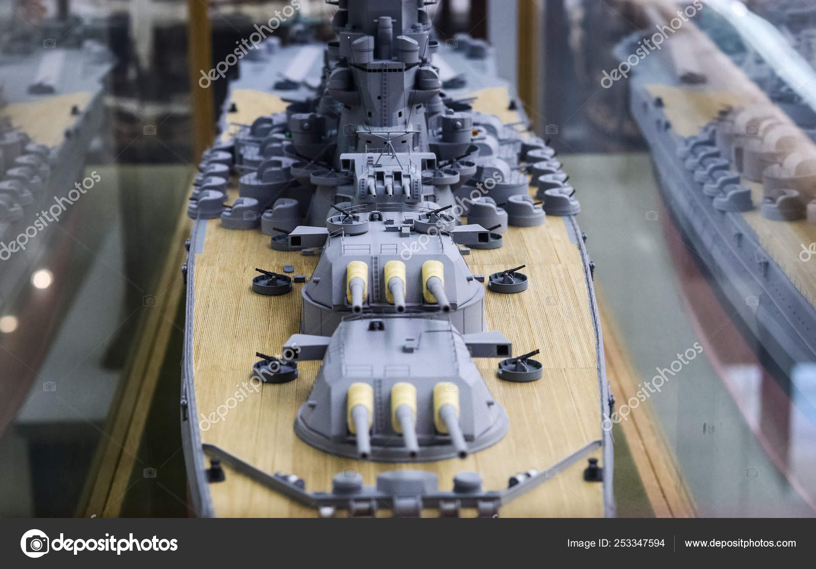 Model Ship Of The Second World War Close Up On The Deck And