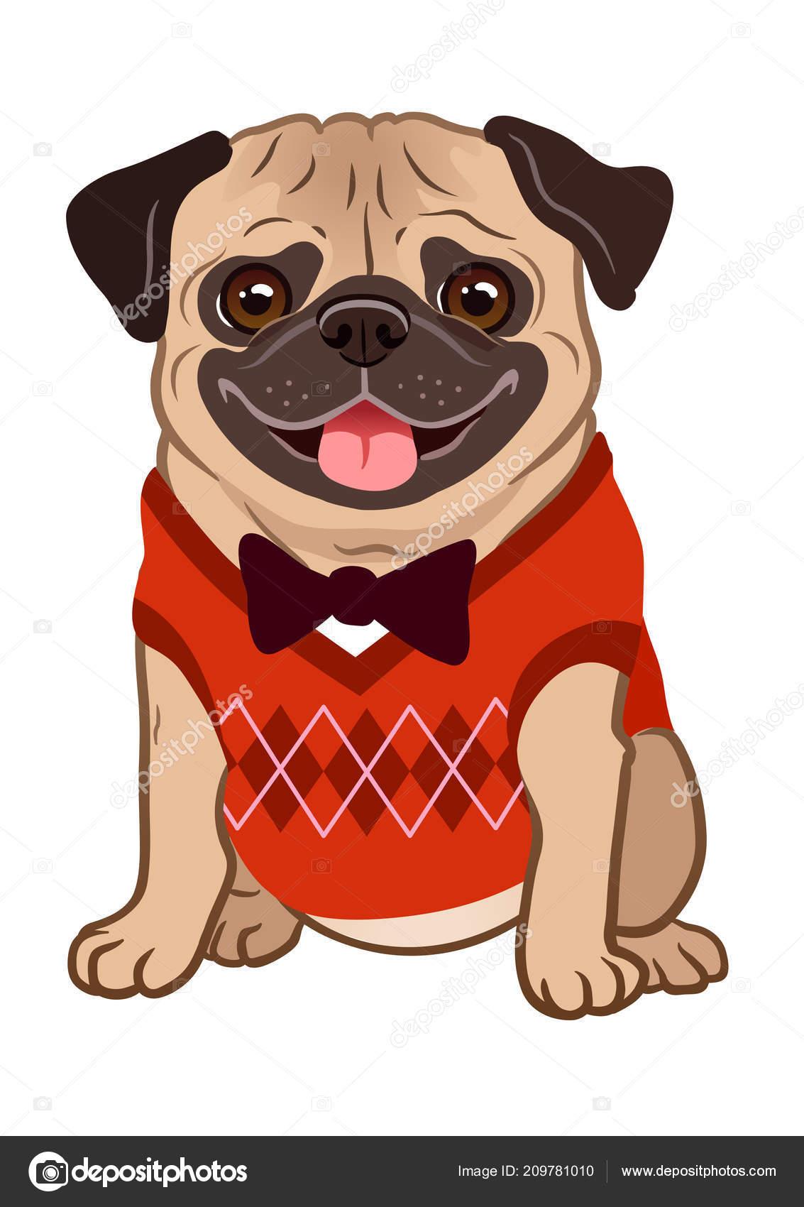 パグ犬漫画イラスト かわいいやさしい脂肪ぽっちゃりフォーン パグ子犬