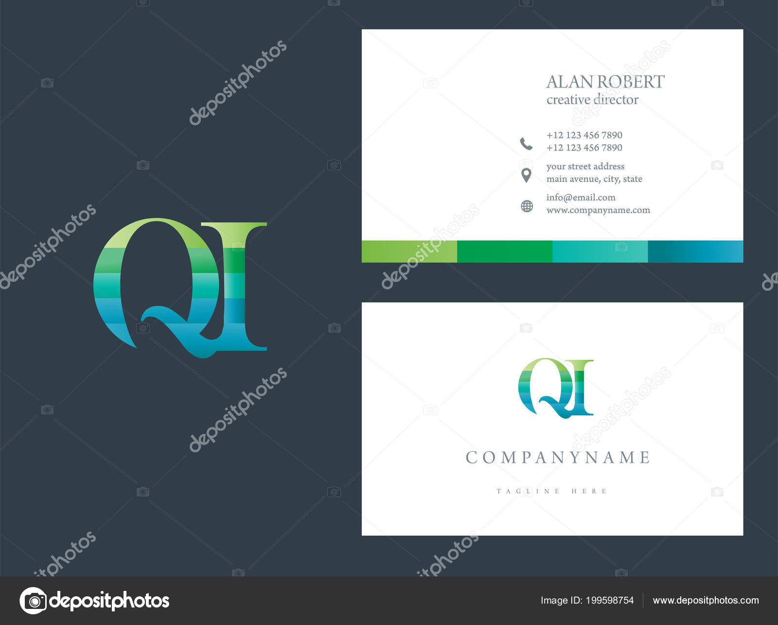 Modele Conception Carte Visite Logo Multicolore Image Vectorielle