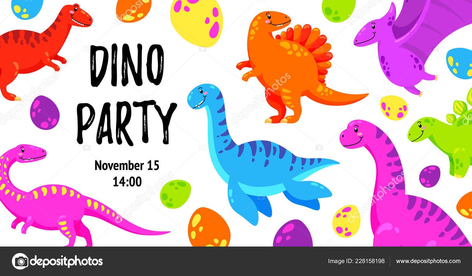 Linda Tarjeta Felicitación Con Dinosaurio Invitación Fiesta