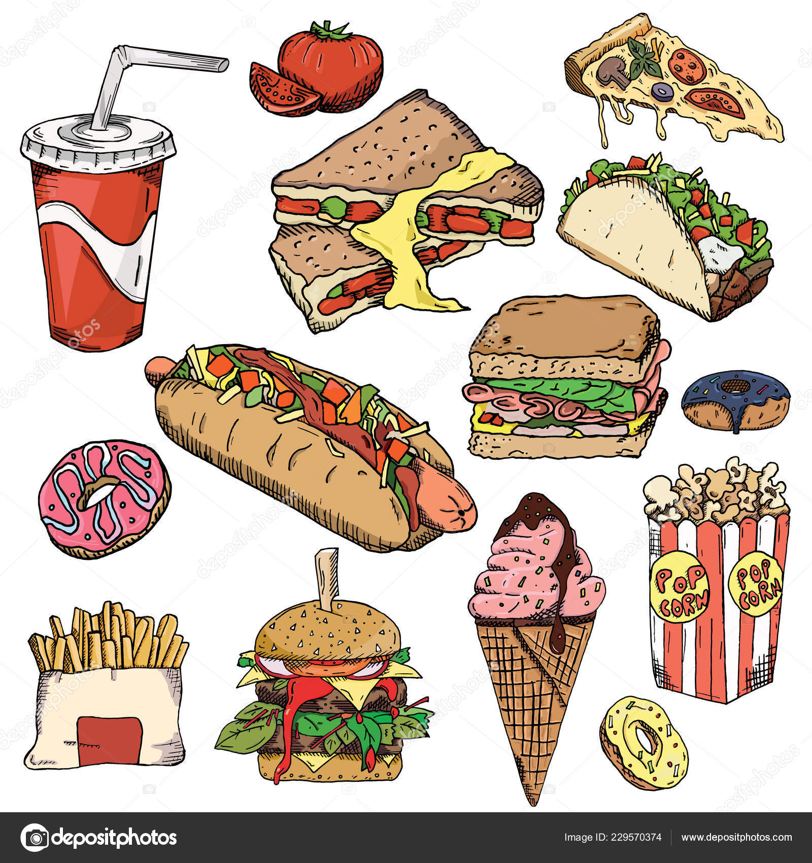 Vector Wallpaper Food Fast Food Background Snack