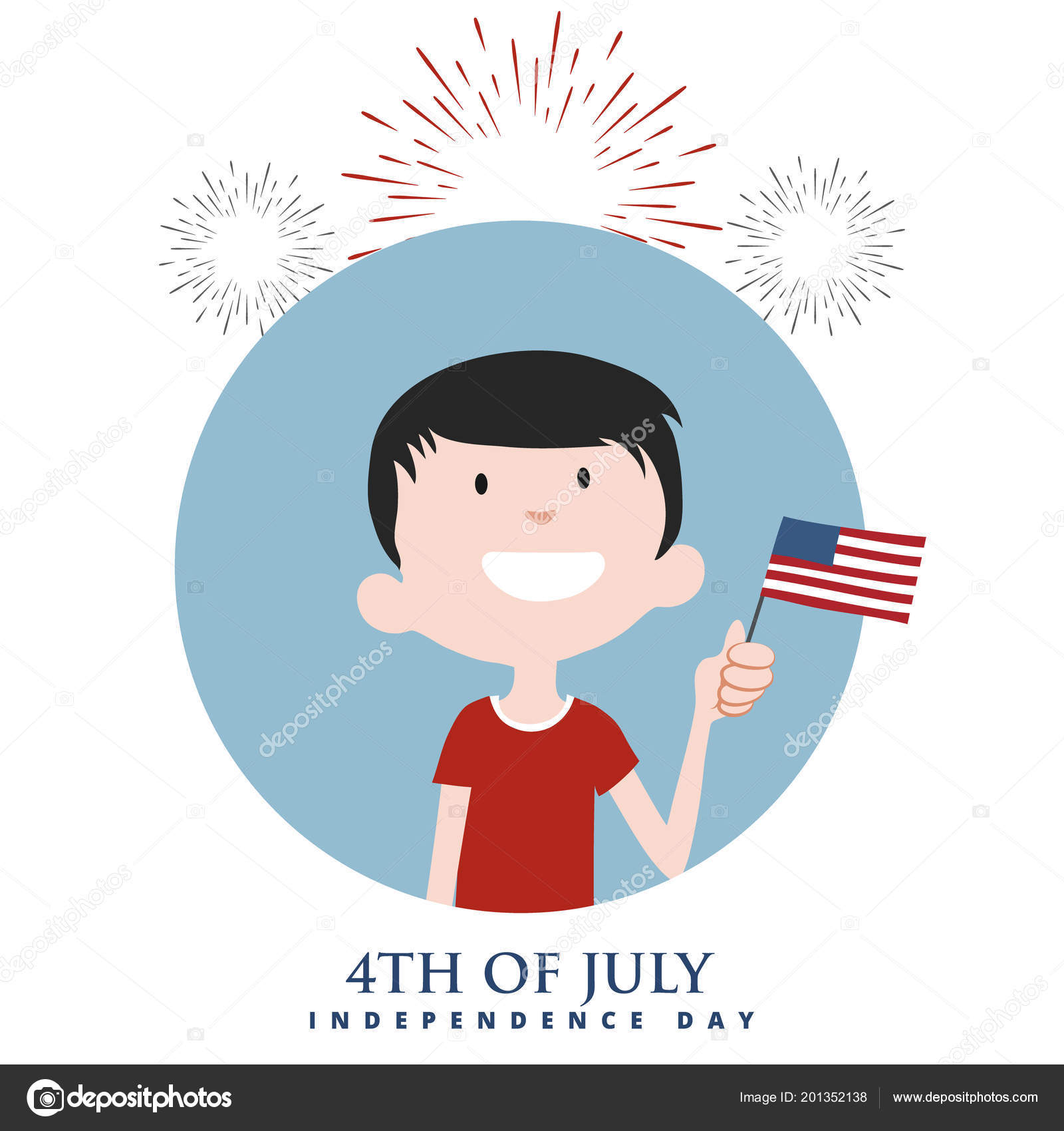 Happy Boy American Flag Fireworks Independence Day Vector Color ...
