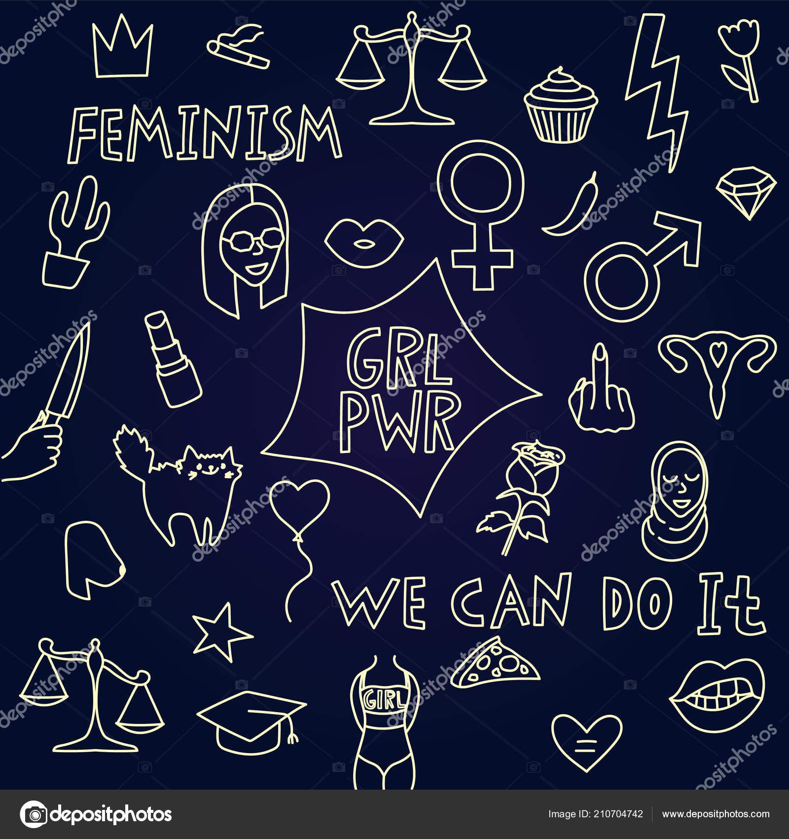Big Simple Feminism Set Symbols Text Vector Illustration