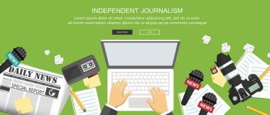 Independent journalism flat banner. Equipment for journalist on desk. Flat vector illustration