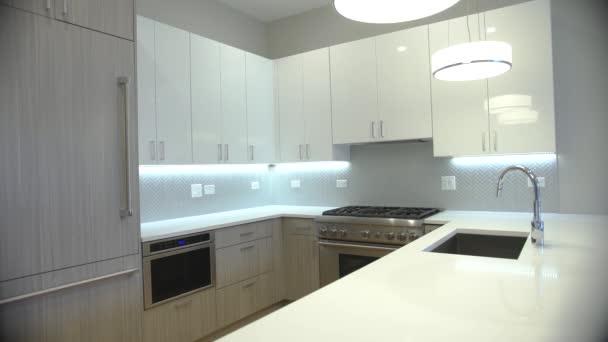 Modern luxury kitchen, interior walk through, steady cam, minimalistic  design