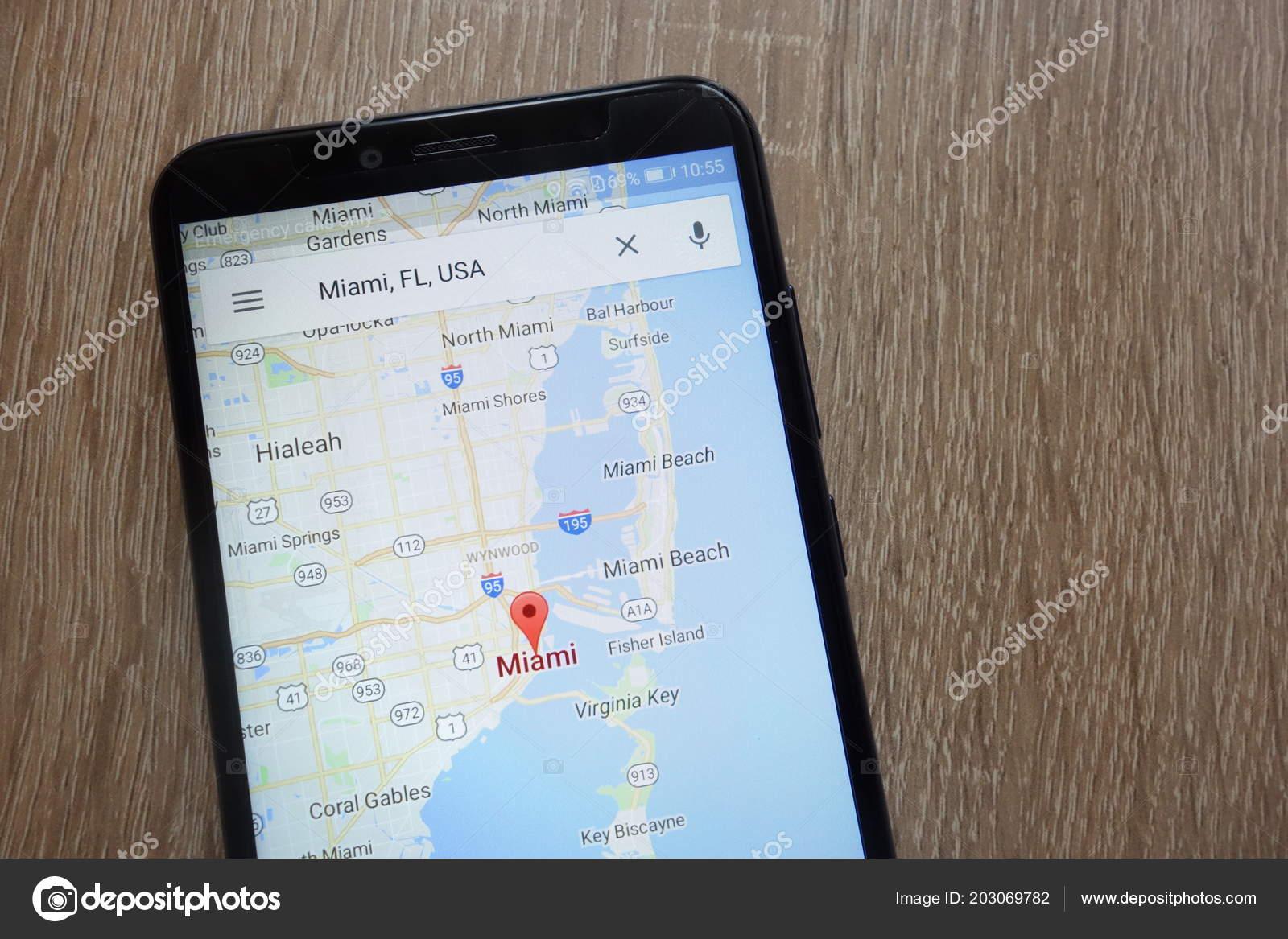 Konskie Polen Juni 2018 Miami Lage Auf Google Maps App ...