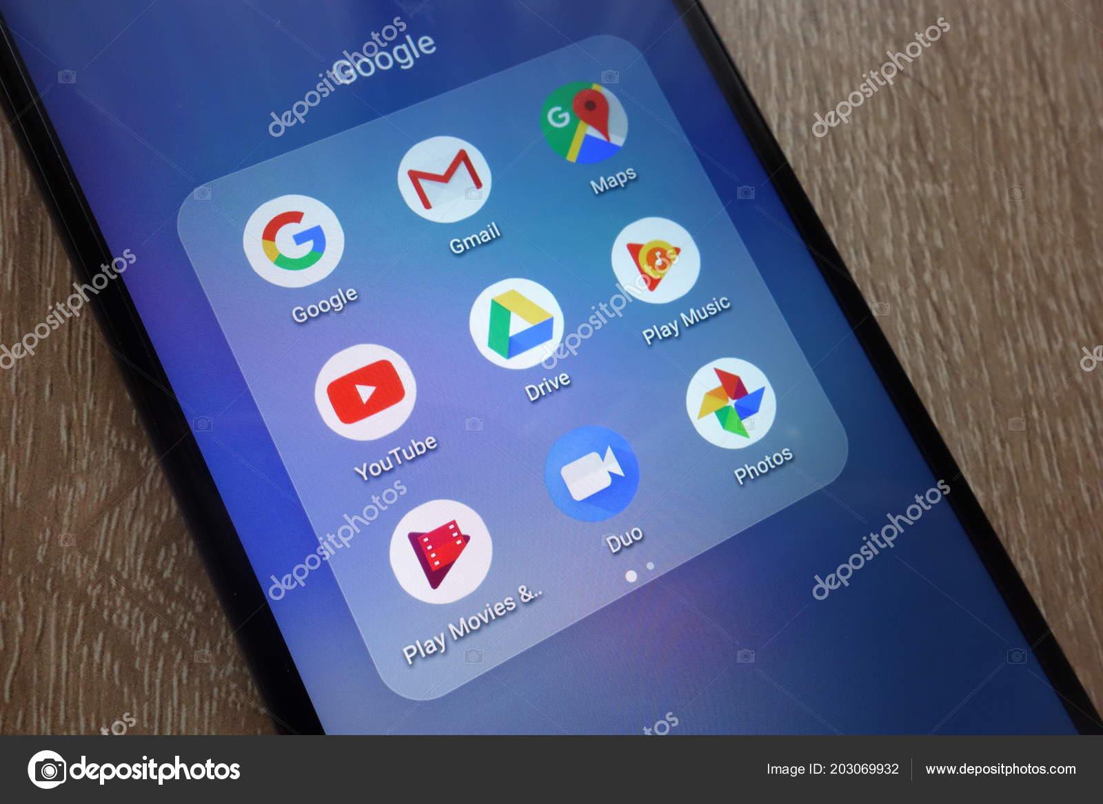 Konskie Poland June 2018 Google Apps Including Gmail Maps Youtube