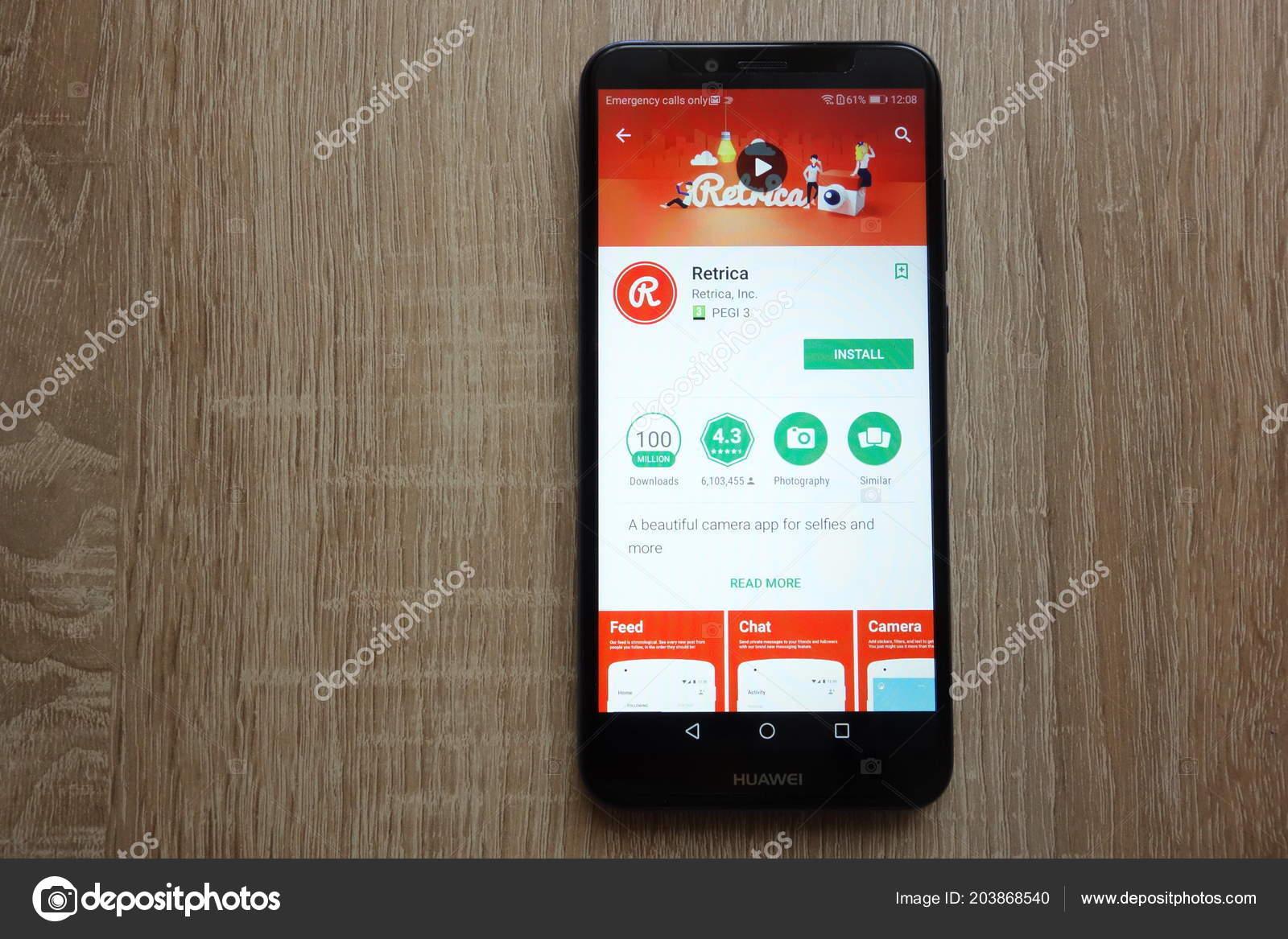 Konskie Poland June 2018 Retrica App Google Play Store Website