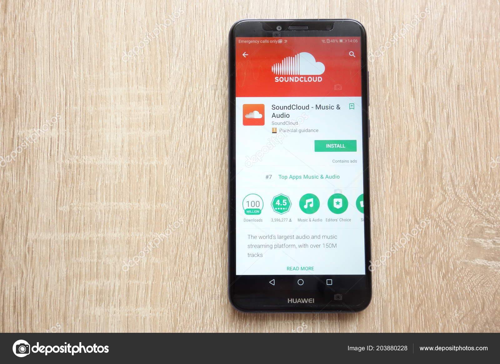 Konskie Poland June 2018 Soundcloud App Google Play Store