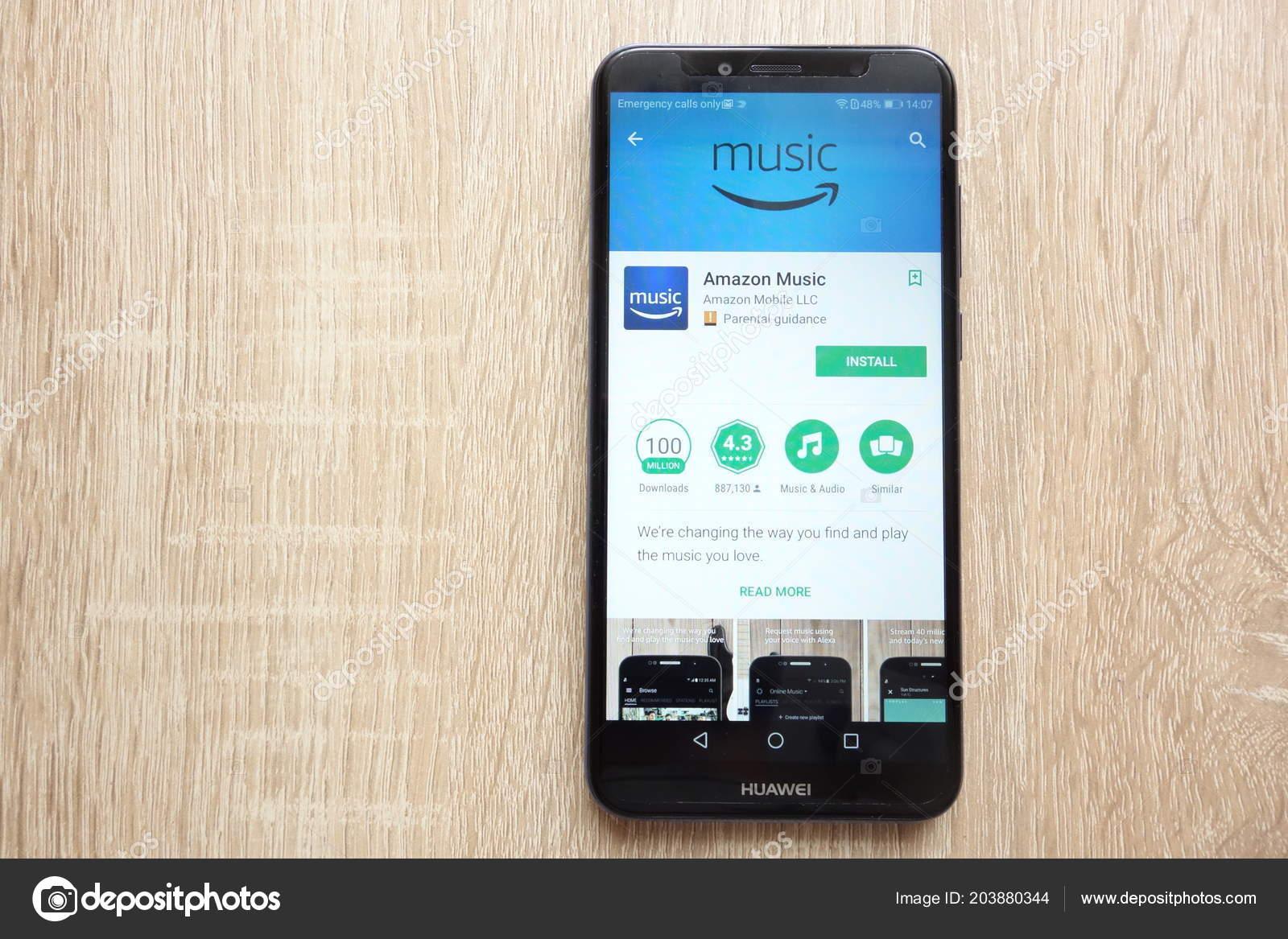 Konskie Poland June 2018 Amazon Music App Google Play Store – Stock
