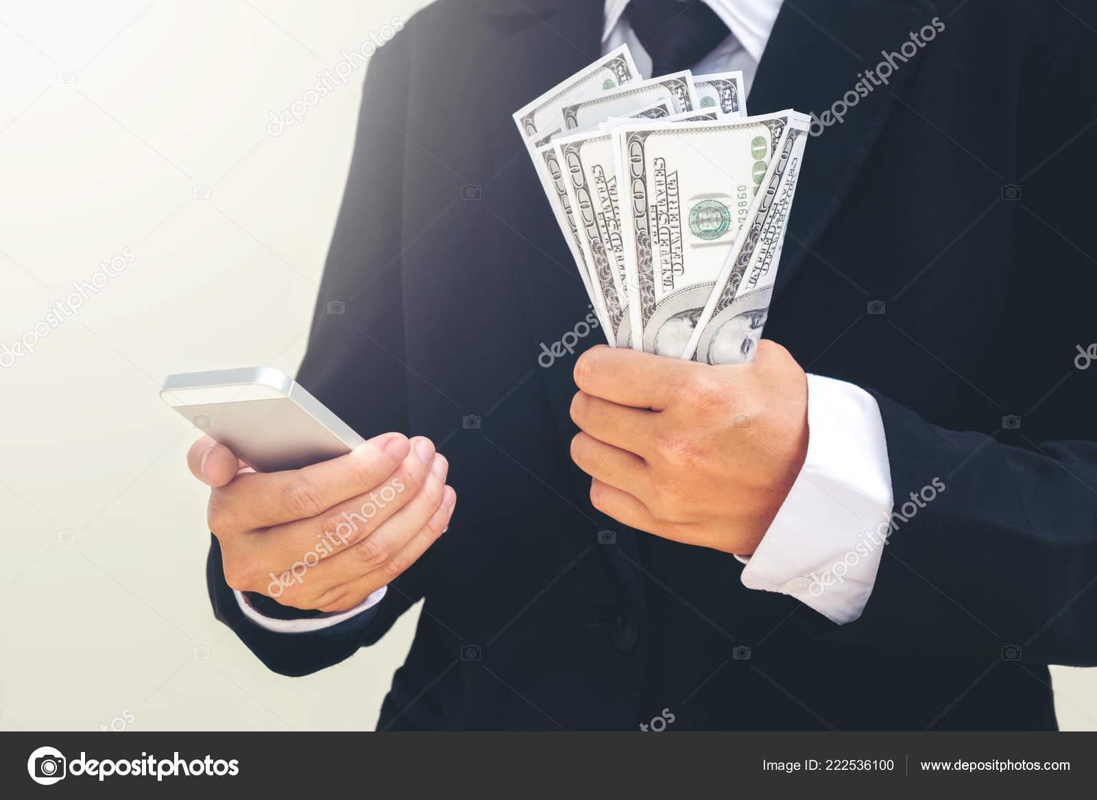 Business Mann Versteckt Geld Tasche Finanz Konzept Stockfoto