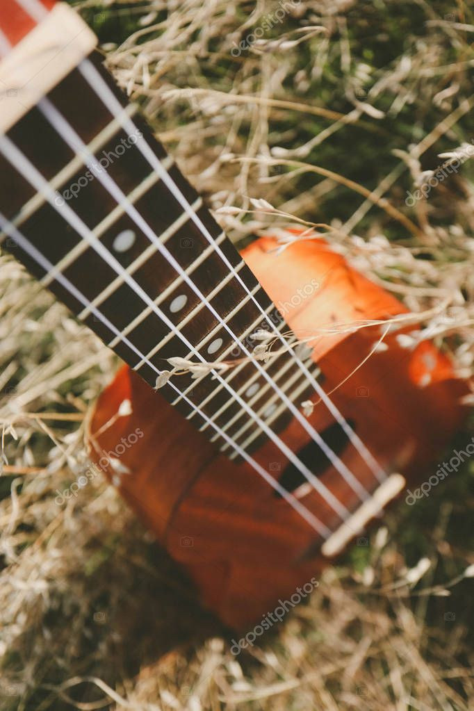 Ukulele guitar at the mountain nature autumn dry yellow grass. Photo depicts musical instrument Ukulele small guitar, outdoor natural fall background. Strings close up. Macro view.