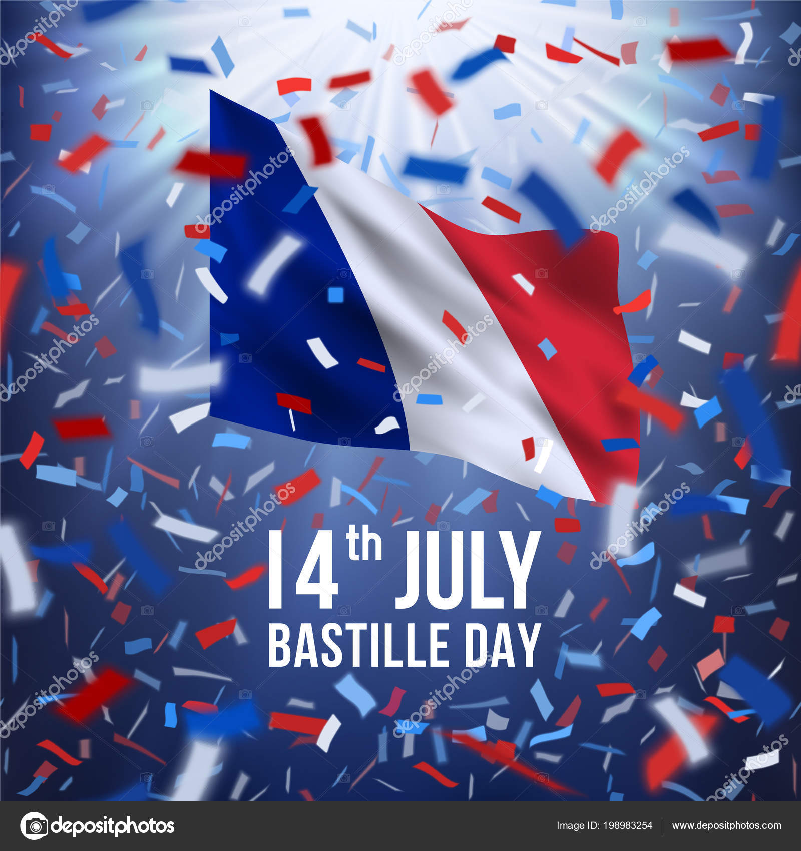 Happy bastille day celebration banner stock vector mirrima france independence greeting 14 july happy bastille day greeting card with colorful flying confetti and national flag of of france m4hsunfo