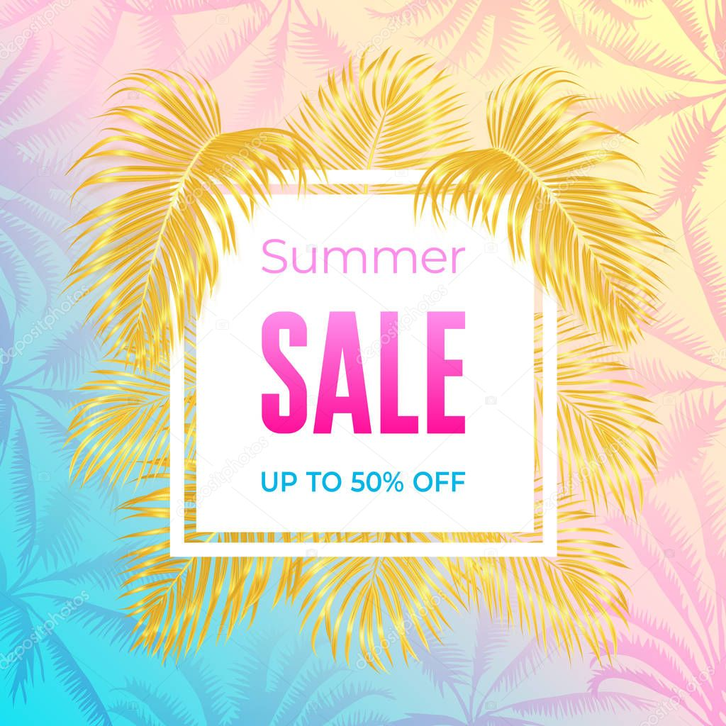 Summer sale banner with tropic leaves