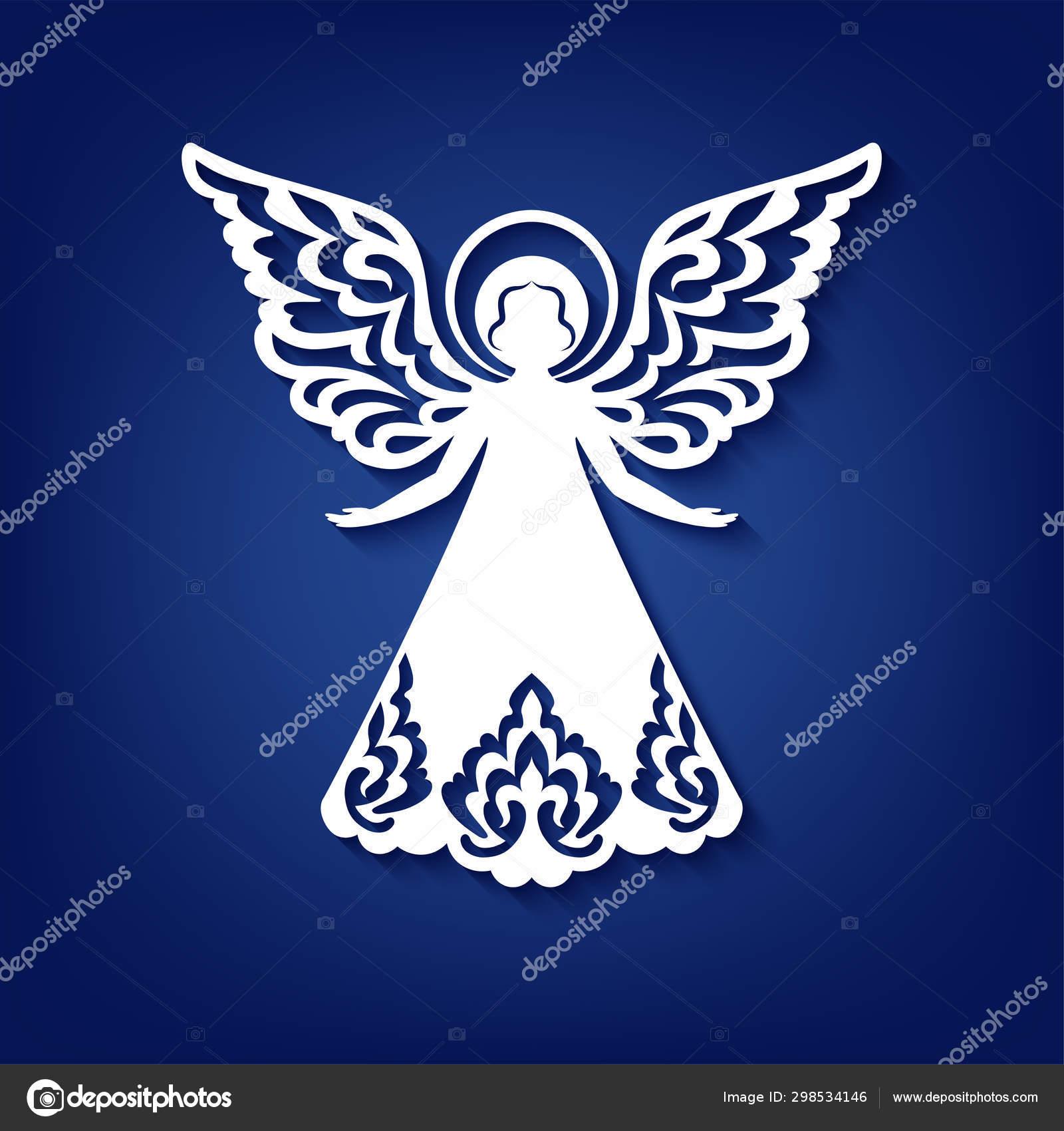 Laser Cut Paper Christmas Angel Decoration Vector Design