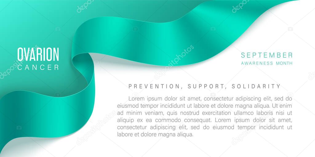 Ovarian Cancer Awareness Horizontal Banner With Realistic Teal Ribbon With Shadow On A Light Background Design Template For Websites Magazines September World Symbol Of Ovarian Cancer Awareness Premium Vector In Adobe