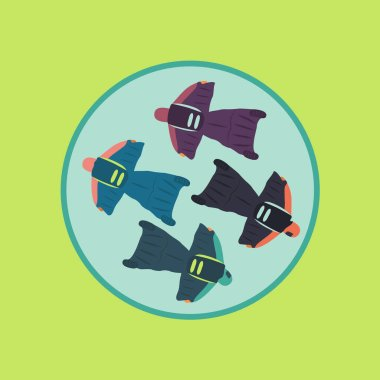 extreme sport adrenalin with parachute icon cartoon vector on sky background art. group people flat design jump together. live your life. skydiving from above in the air with illustration wingsuit art