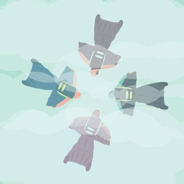 extreme sport adrenalin with parachute icon cartoon vector on sky background art. group for four people flat design jump together. friends do skydiving from above in the air with illustration wingsuit