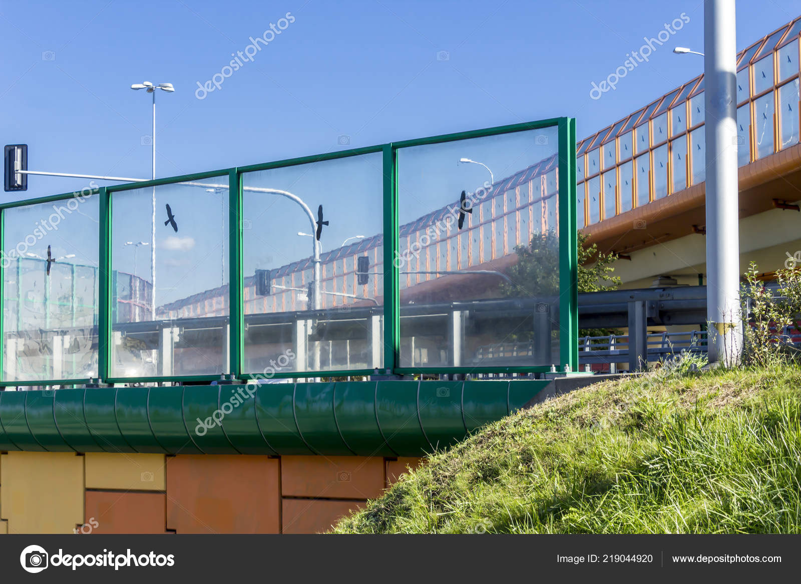 Sound Absorbing Screens Highway Overpass Metal Frames Filled