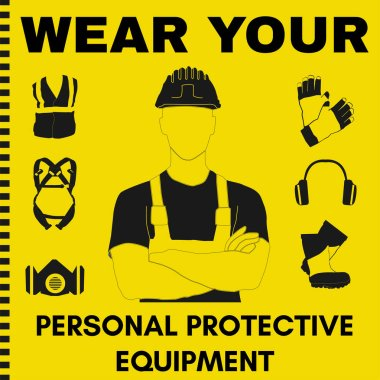 Personal Protective Equipment and Wear set. Will be use for Occupational Safety and Health poster, sign and postcard. stock vector