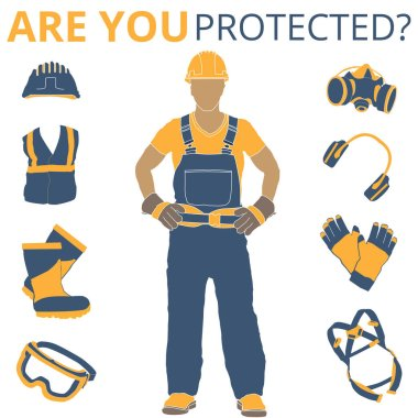 Personal Protective Equipment and Wear set. Will be use for Occupational Safety and Health poster, sign and postcard stock vector