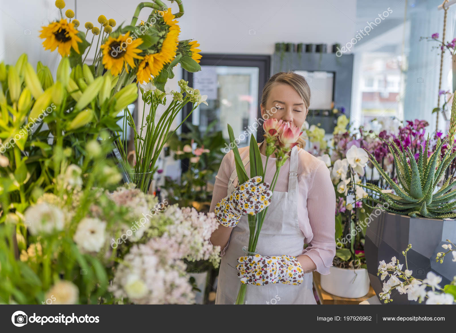 Young Flower Shop Owner Beautiful Young Florist Flower Shop Female