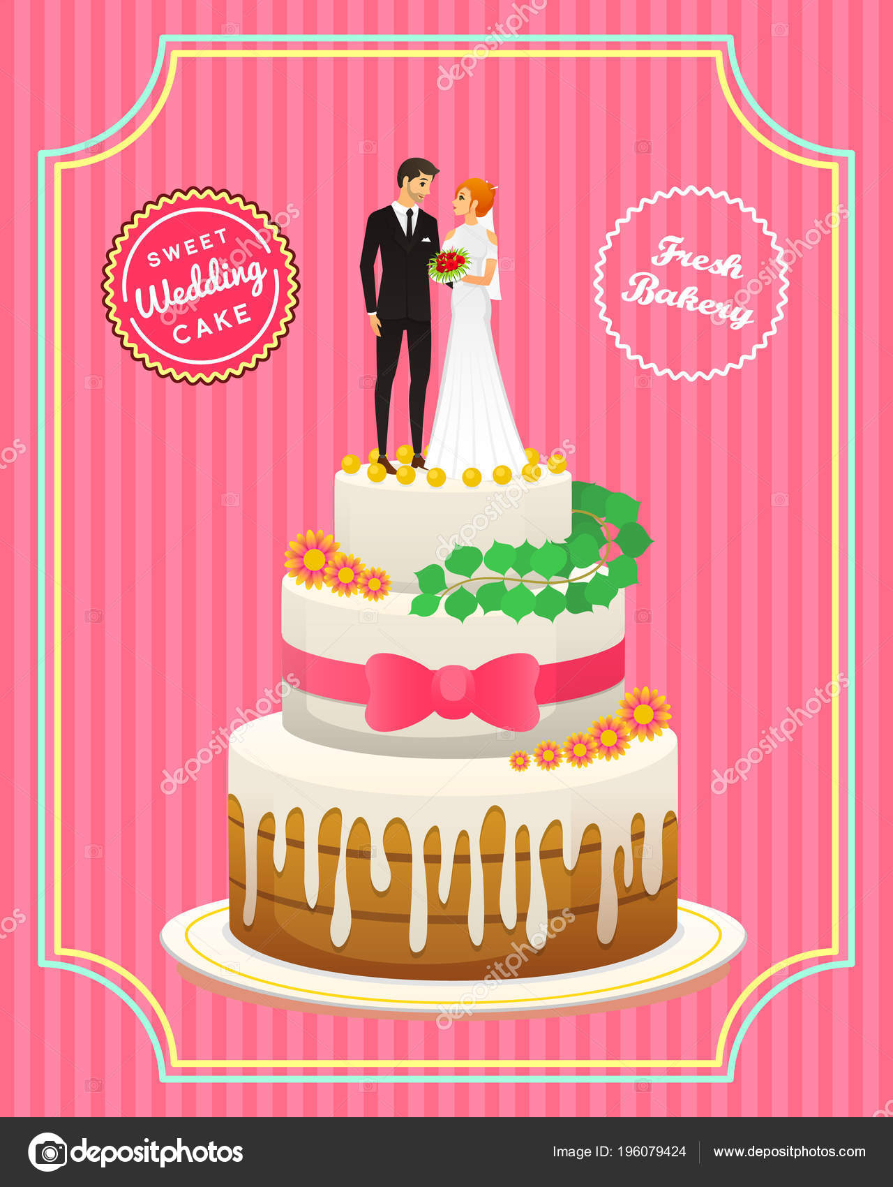 Wedding Cake Card Bride And Groom Valentines Day Newlyweds Vector