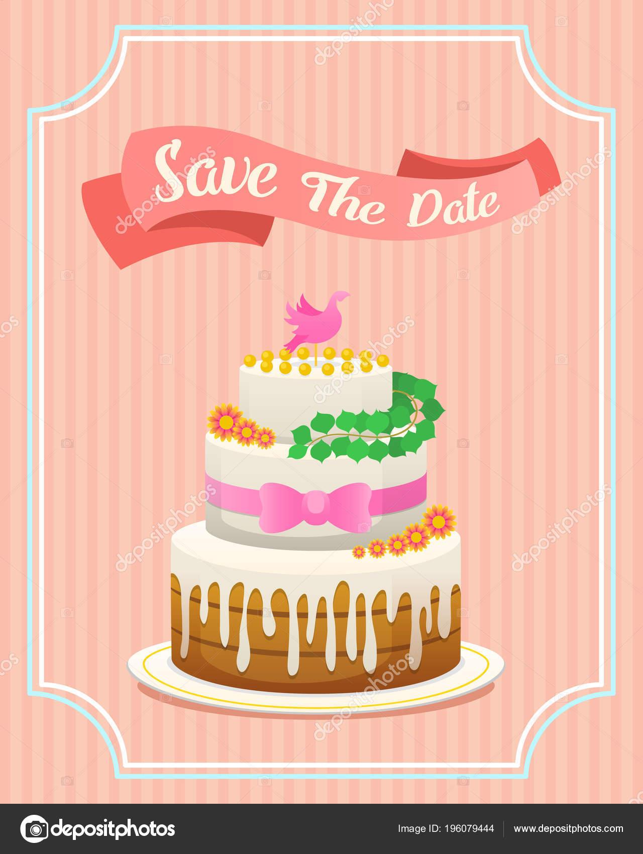 Wedding Cake Card Valentines Day Newlyweds Vector Illustration