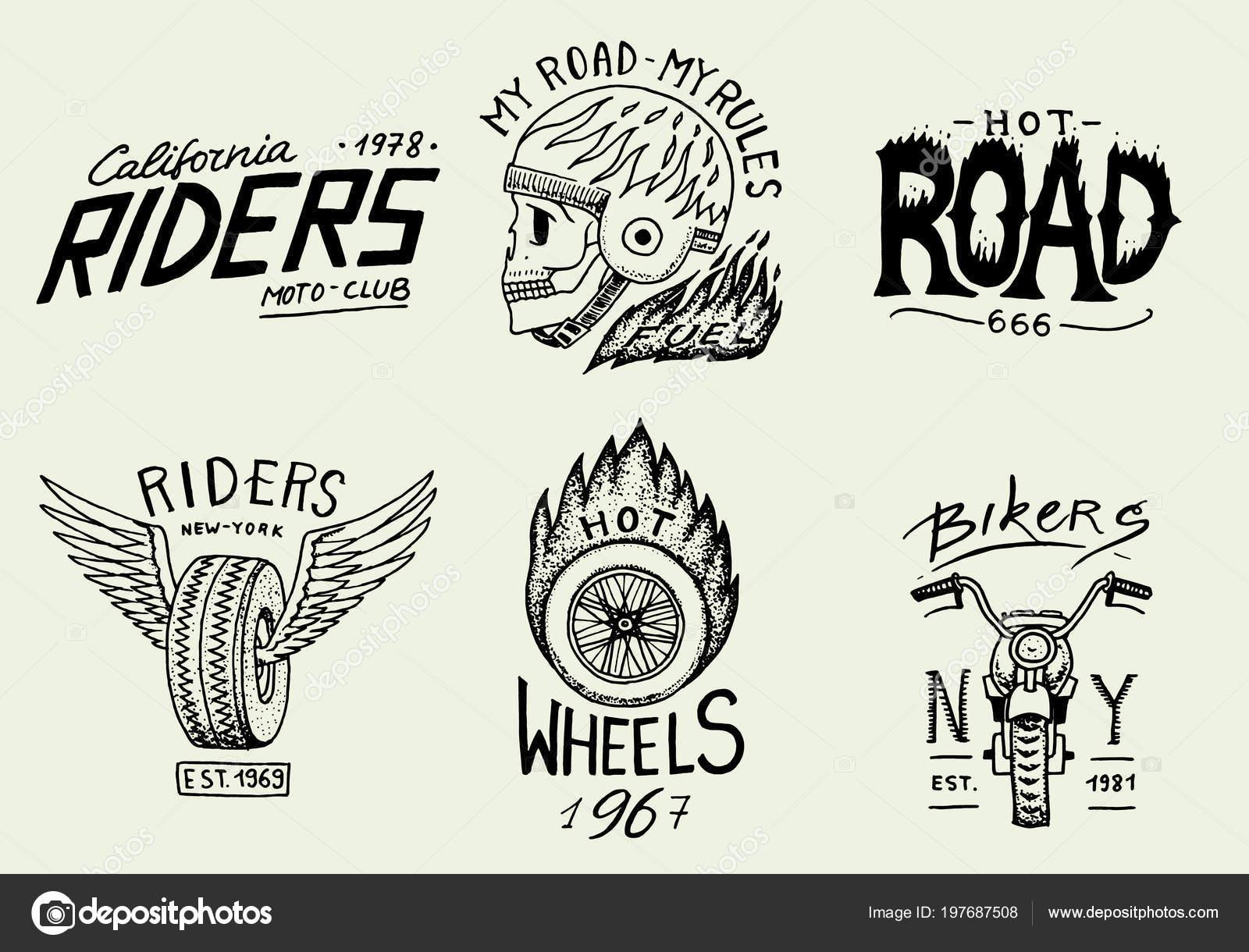 Motorrad und Biker-Club-Vorlagen. Vintage benutzerdefinierte Schädel ...