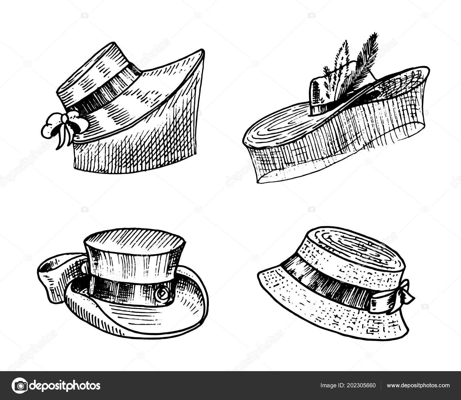 ec37408f Retro fashion set. Breton Panama, Broad-brim, Slouch Cloche, Poke bonnet.  Hand drawn engraved vintage sketch. — Vector by ArthurBalitskiy| ...