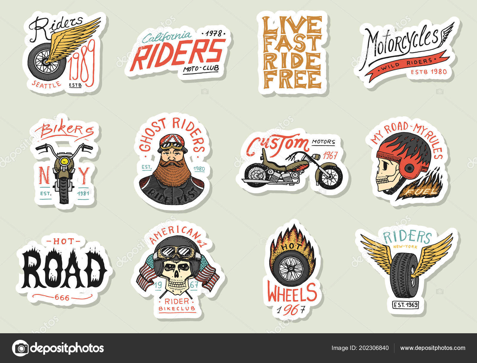 Biker club stickers templates vintage custom motorcycle and