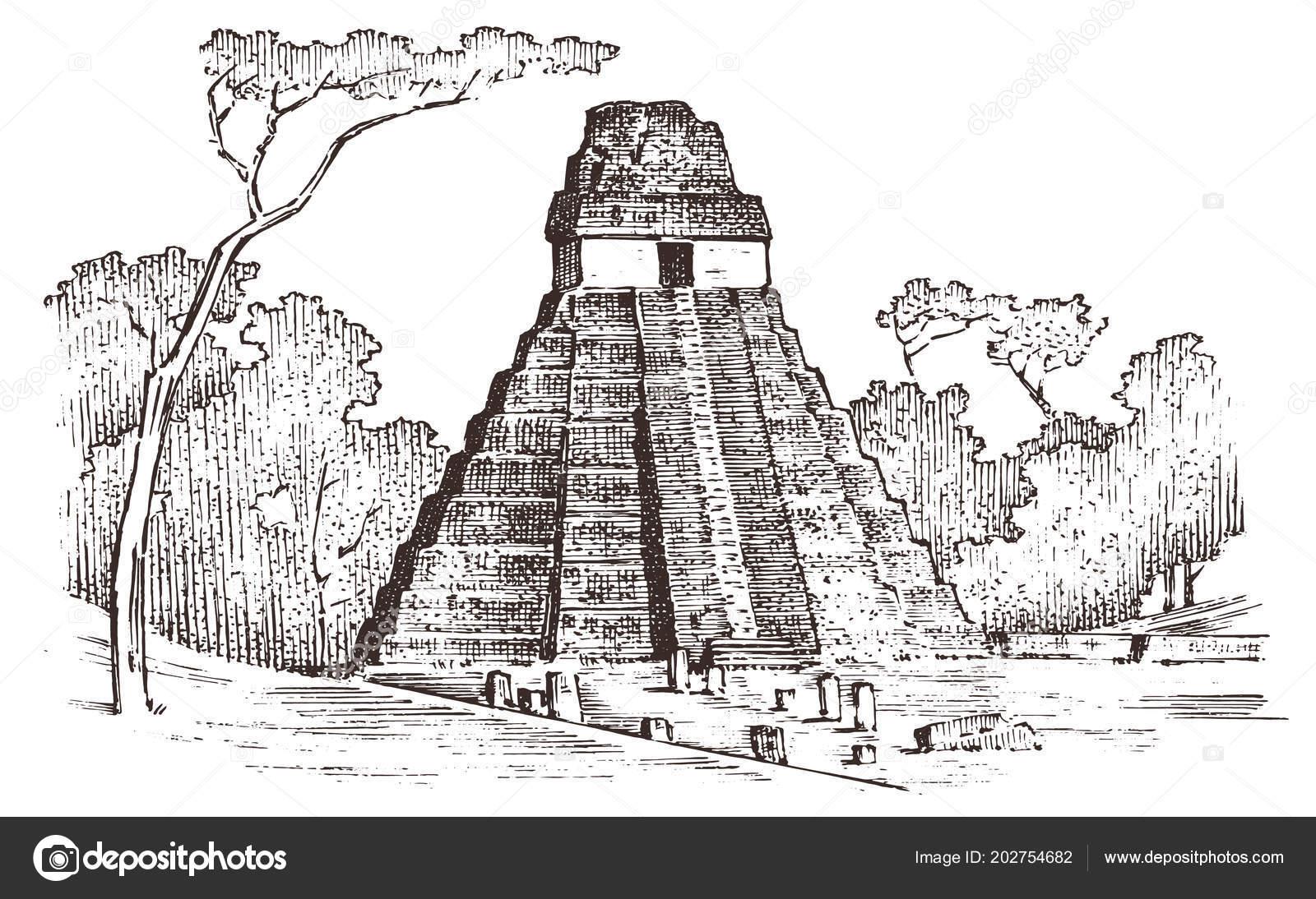 Pirámide Maya Vintage Cultura Azteca México Antiguo Monocromo