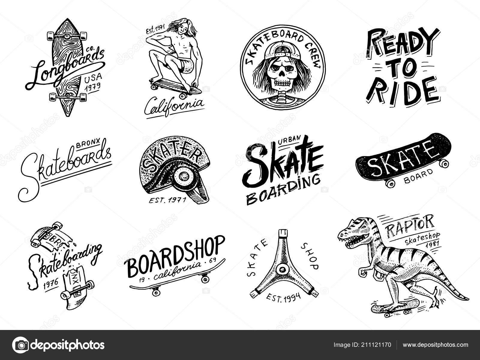 Conjunto de insignia de las etiquetas de Skateboarding. Ilustración ...