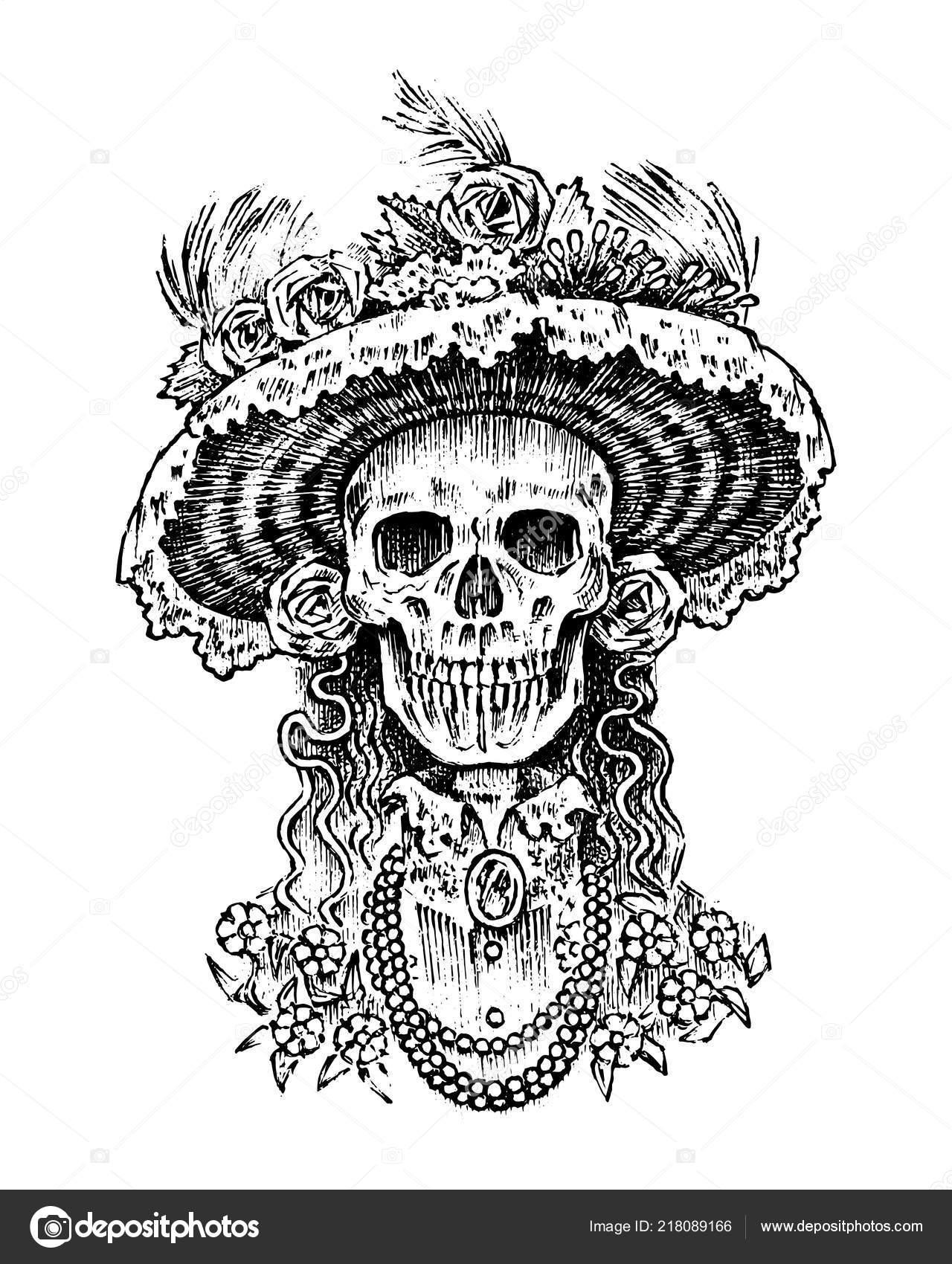 La Calavera Catrina Esqueleto De Mujer Elegante Día De Los Muertos