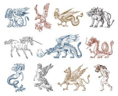 Set of Mythological animals. Mermaid Minotaur Unicorn Chinese dragon Cerberus Harpy Sphinx Griffin Mythical Basilisk Roc Woman Bird. Greek creatures. Engraved hand drawn antique old vintage sketch.