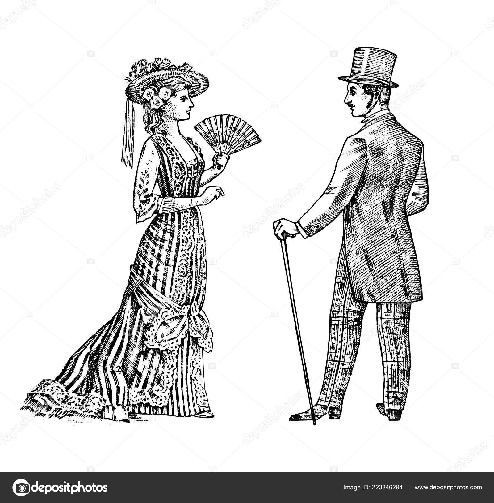 Antique Ladie And Man Victorian Dame And Gentleman Ancient Retro