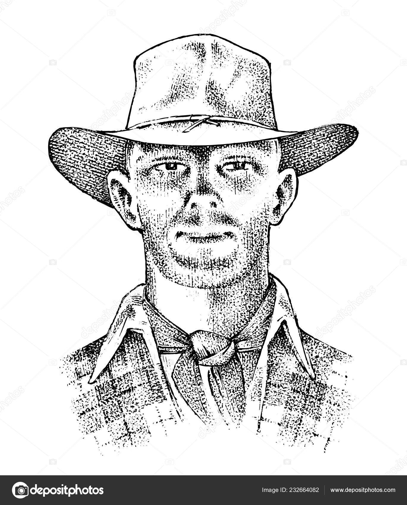 23902ca2 Cowboy face close up. Sheriff in hat. Western rodeo icon, Texas Ranger,  Wild West, Country style. Vintage Engraved hand drawn sketch — Vector by ...