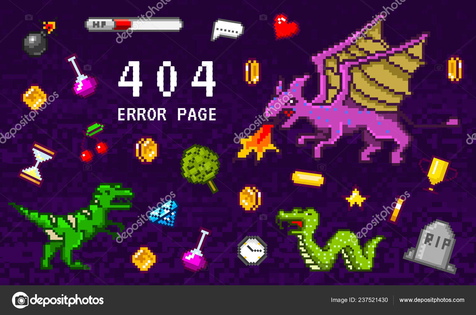 404 Error Page Not Found Pixel Art 8 Bit Objects Retro Game Assets
