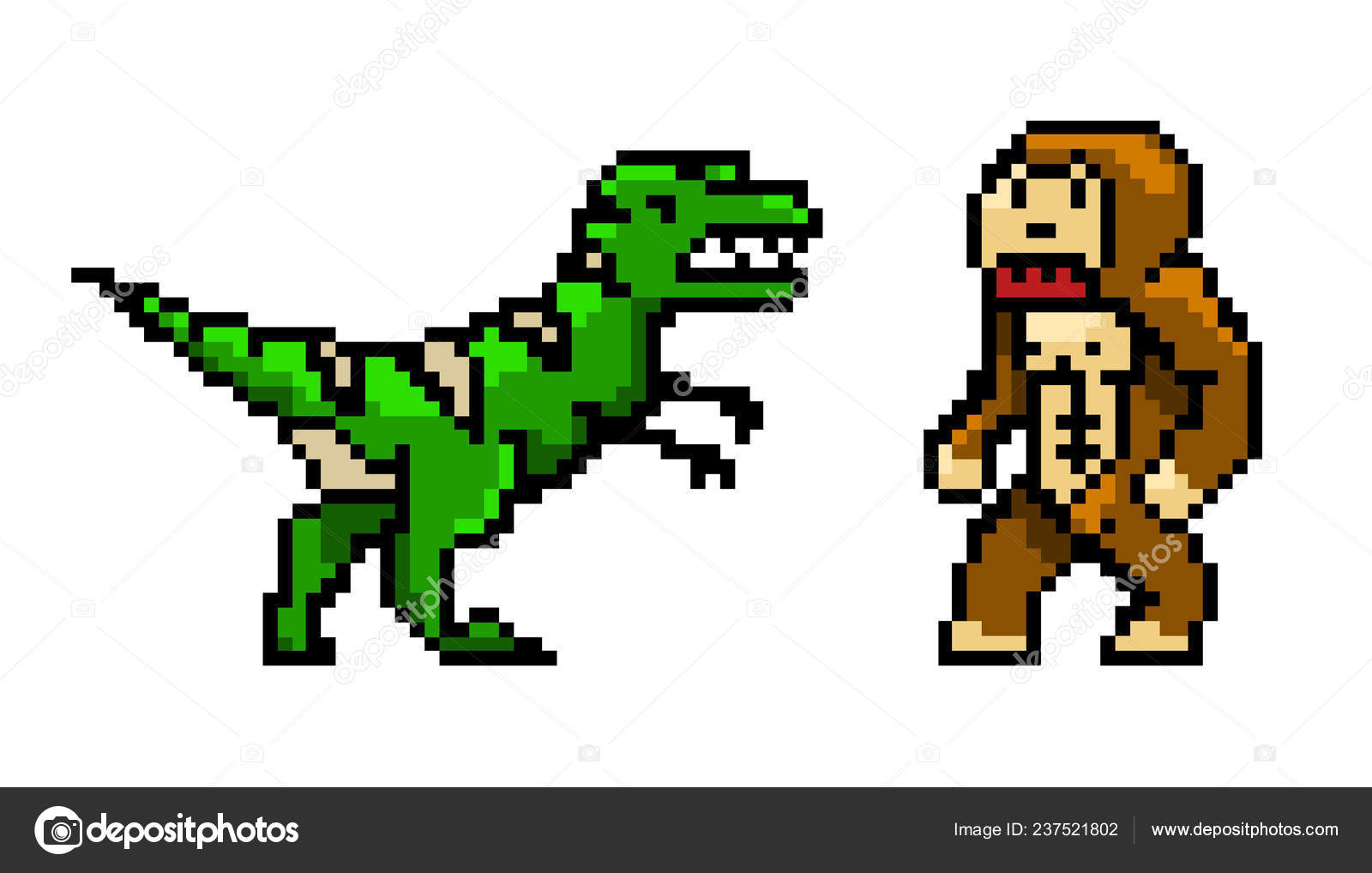 Pixel Art Dinosaur Pixel Art 8 Bit Objects Characters