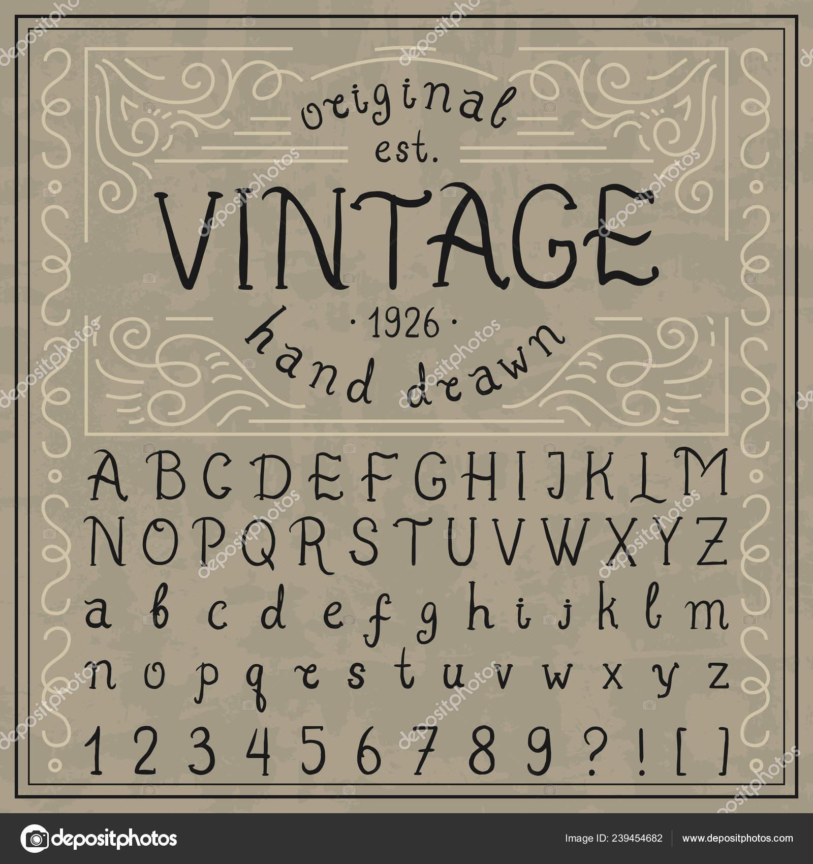 Vintage whiskey font. Handwritten alphabet letters ...