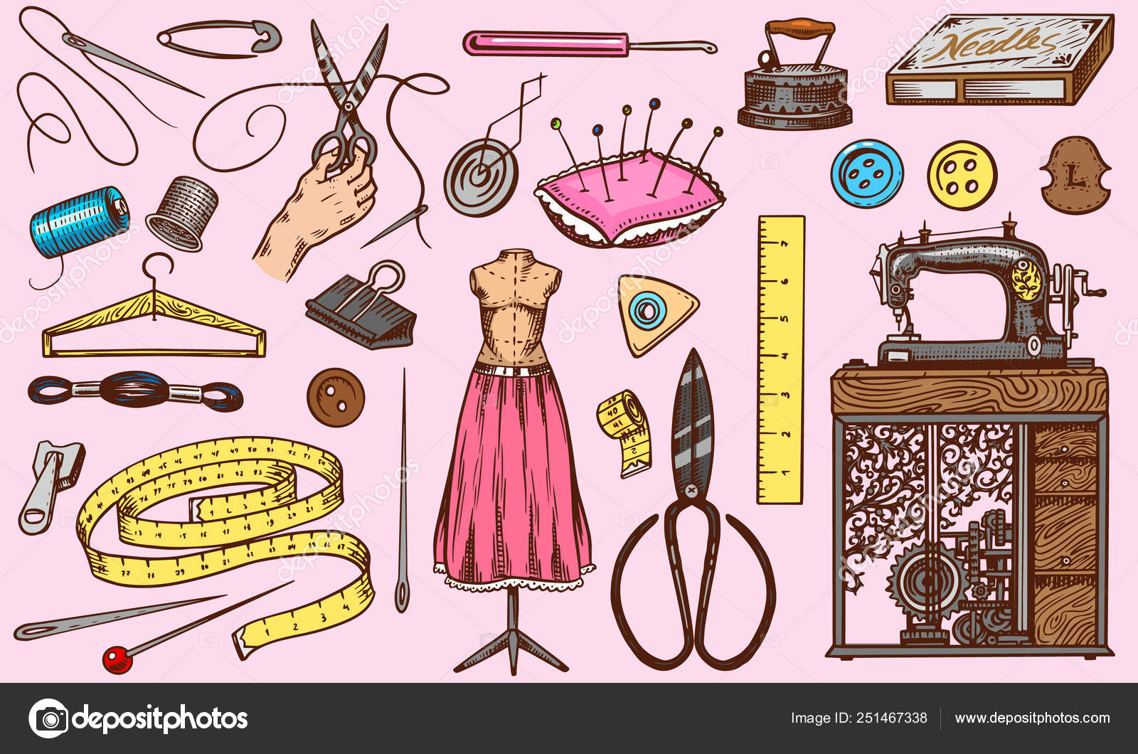 Set Of Sewing Tools And Elements Or Materials For Needlework Handmade Equipment Tailor Shop For Badges
