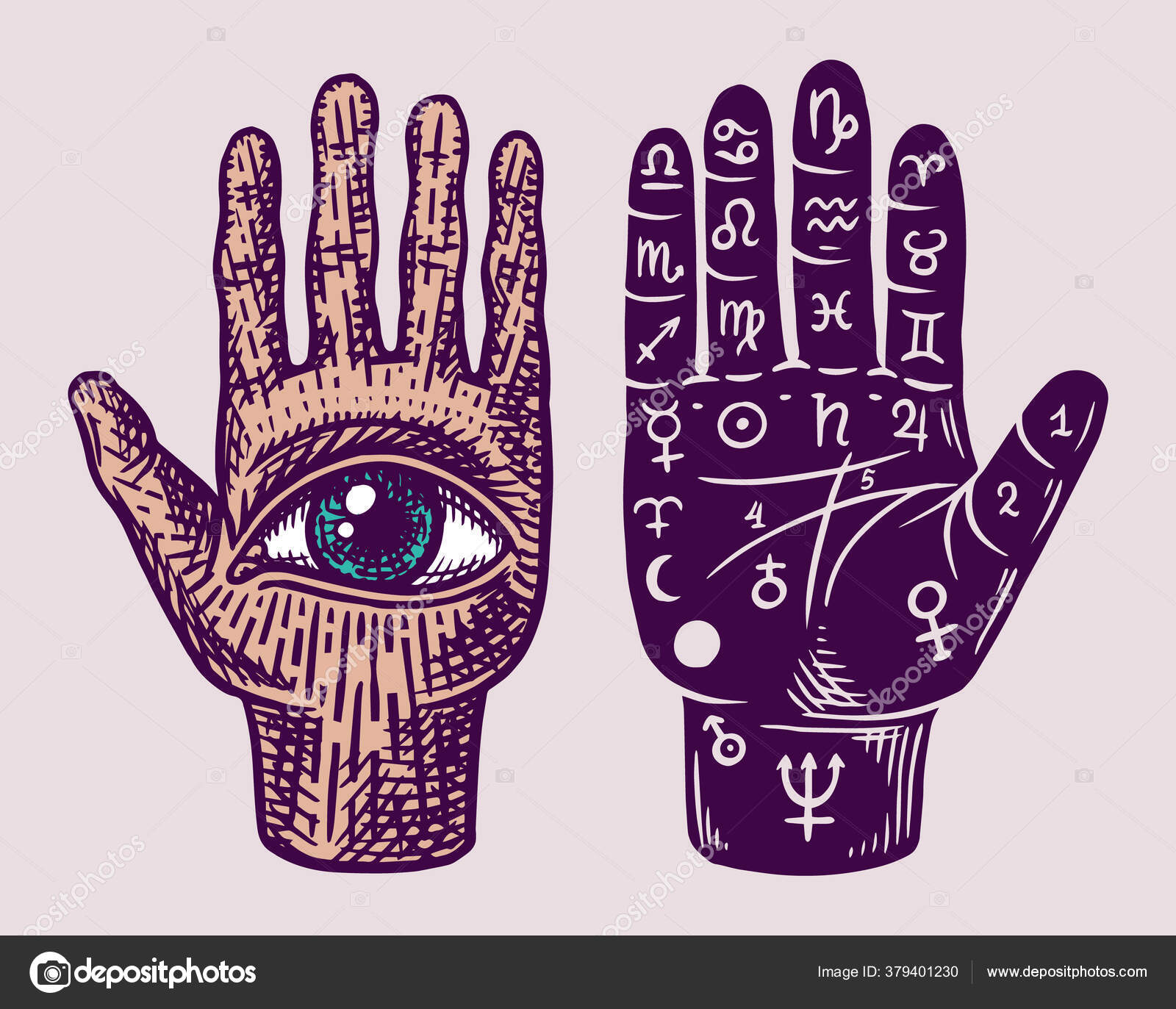 Engraved Palmistry Hand