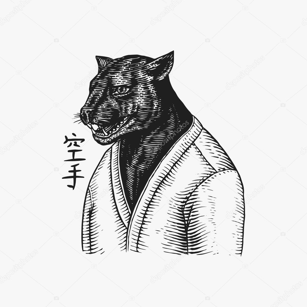 Black Panther Wrestler Or Cat Fighter Japanese Text Means Karate Fashion Animal Character Hand Drawn Sketch Vector Engraved Illustration For Logo Label And Tattoo Or T Shirts Premium Vector In Adobe Illustrator