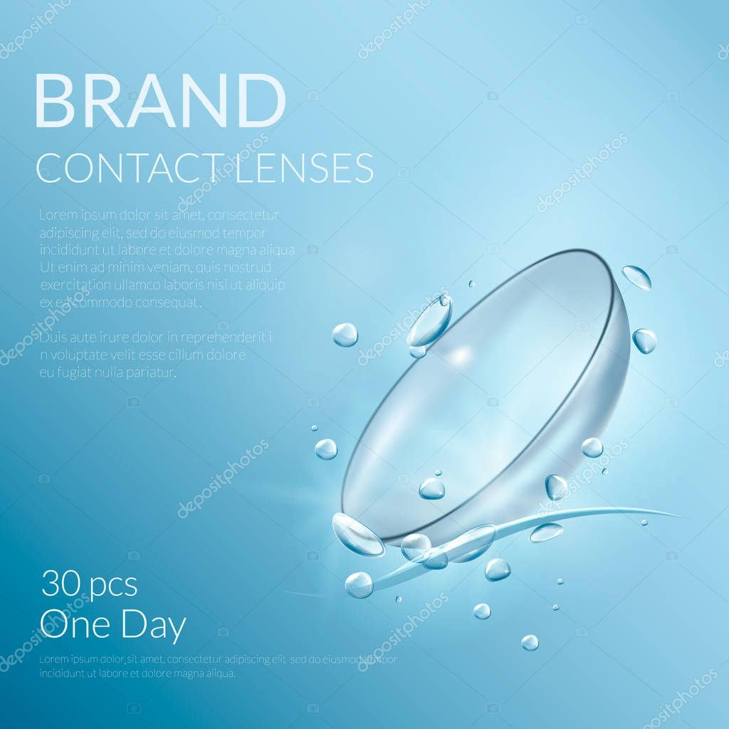 Realistic banner of contact lenses with water drops. Medical and cosmetic illustration design template.