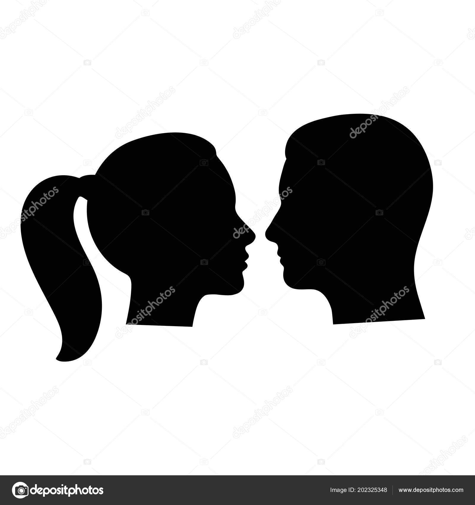 Icon Face Silhouette Man Woman Avatar Profile Face Silhouette Icon Isolated White Background Stock Vector C Elena3567 202325348