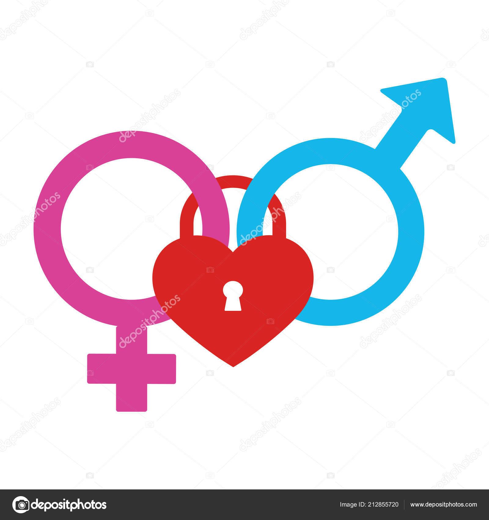 Male Female Symbol Lock White Background